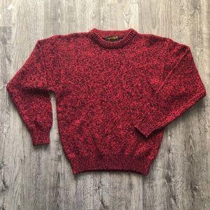 VTG Wool Eddie Bauer Red Black Crewneck Sweater